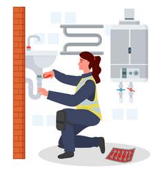 Plumber woman repairing adjusting fixing sink tube vector