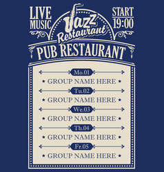 Poster for a pub restaurant with live jazz music vector