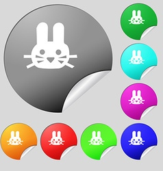 Rabbit icon sign Set of eight multi colored round vector image