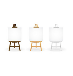 realistic detailed 3d wooden easel set vector image