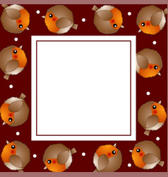Red robin bird on red christmas banner card vector