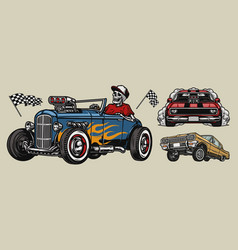 retro custom cars colorful composition vector image