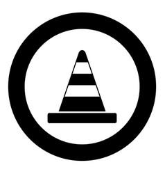 road cone icon black color in circle vector image