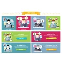Set concept work employed freelancer vector