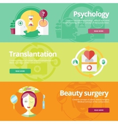Set of flat design concepts for psychologyst vector