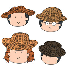 Set of people with straw hat vector