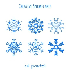 Set of snowflake hand drawn with oil pastels vector