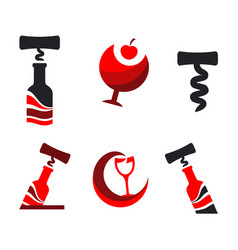 set sign corkscrew and a bottle red wine vector image