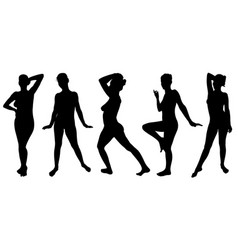 set women silhouettes posing vector image