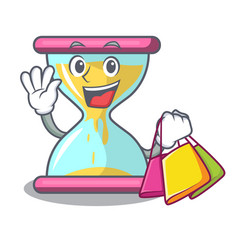 Shopping cartoon hourglass in the dawn time vector