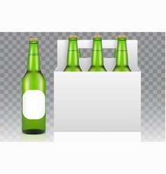 six pack beer mockup realistic vector image