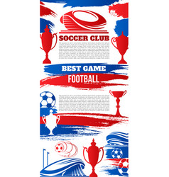 soccer sport banner with football stadium and ball vector image vector image
