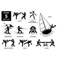Sport games alphabet s icons pictograph sambo vector
