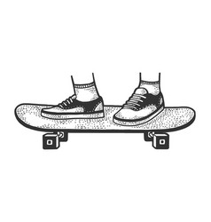 Square wheel skateboard sketch vector