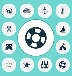 summer icons set with beer ship helm tent and vector image