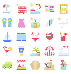 summer vacation related icon set 1 flat style vector image