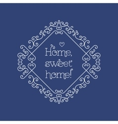 Sweet home lettering and frame line art Monogram vector
