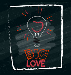 the heart in the lamp is drawn on the school board vector image