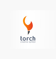 torch creative symbol concept power fire flame vector image