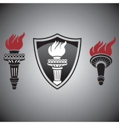 torch with fire signs and symbols vector image