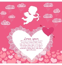 Valentines day angel with bow flyer vector