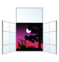view from the window on a halloween vector image