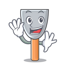 Waving character putty knife isolated vector