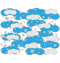 white blue clouds in the stars children background vector image