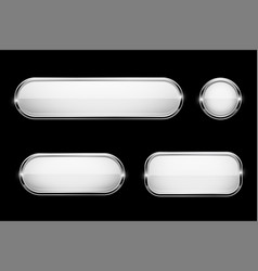 white glass buttons with chrome frame on black vector image