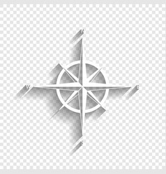 Wind rose sign white icon with soft vector