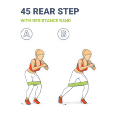 Woman doing 45 rear step with resistance band home vector