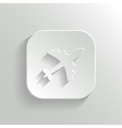 Airplane icon - white app button vector image