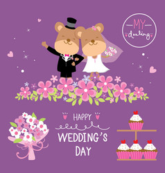 bear couple wedding flower sweet cute cartoon vect vector image