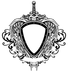 board sword wings lions vector image vector image