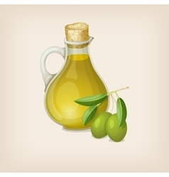Bottle of olive oil and branch of olives vector image vector image
