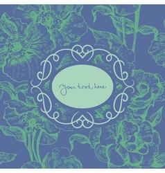 Floral background with vintage frame vector image