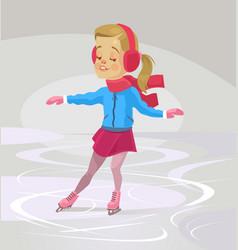 little smiling girl character skates vector image vector image
