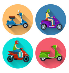 Scooter transport flat icons vector image vector image