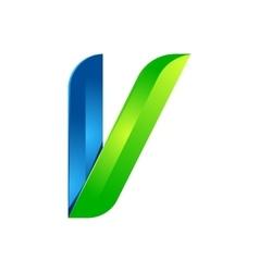 V letter leaves eco logo volume icon vector image vector image