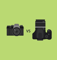 comparing mirrorless camera vs dslr camera picture vector image
