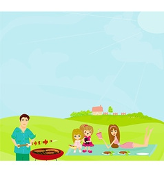 Family Having A Barbecue Party vector image