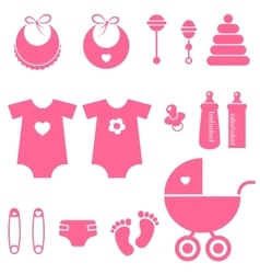 set of baby girl elements icons vector image vector image
