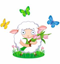 spring sheep vector image vector image