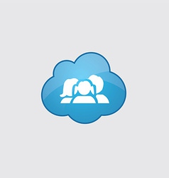 Blue cloud family icon vector image