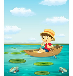 Boy on boat vector image