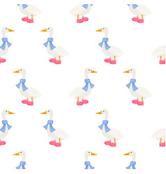 ducks in scarf winter seamless pattern vector image vector image