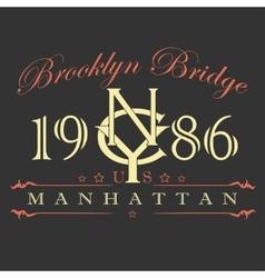 Manhattan t-shirt design vector image