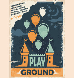 outdoor playground poster template with castle and vector image vector image