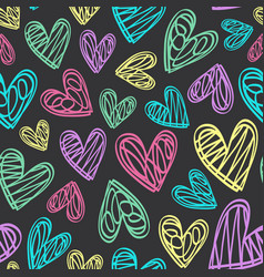 seamless pattern with hearts on black background vector image