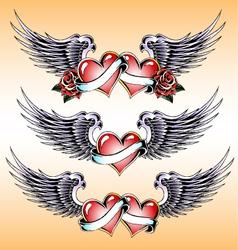 valentine heart emblem design vector image vector image